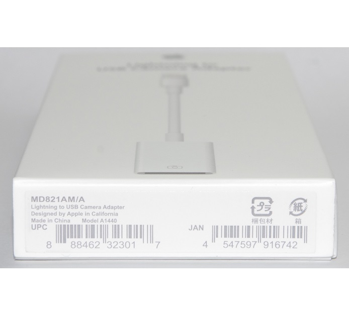 GENUINE APPLE LIGHTNING TO USB CAMERA ADAPTER MD821AM NEXT DAY SHIPPING
