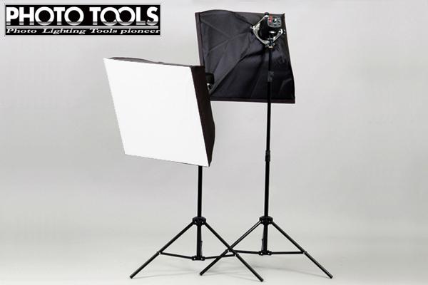 送料無料 商品撮影 ストロボ モノブロック 180W + ソフトボックス 60×60cm 2灯セット p044
