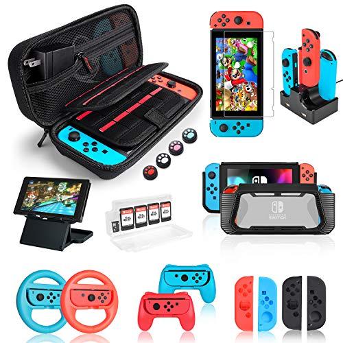 Nintendo 公式 Switch ケース 18in1 セット ニンテンドースイッチ 収納保護ケース+TPU保護ケース+コンパクトプレイスタンド+Swit 推奨 カバー