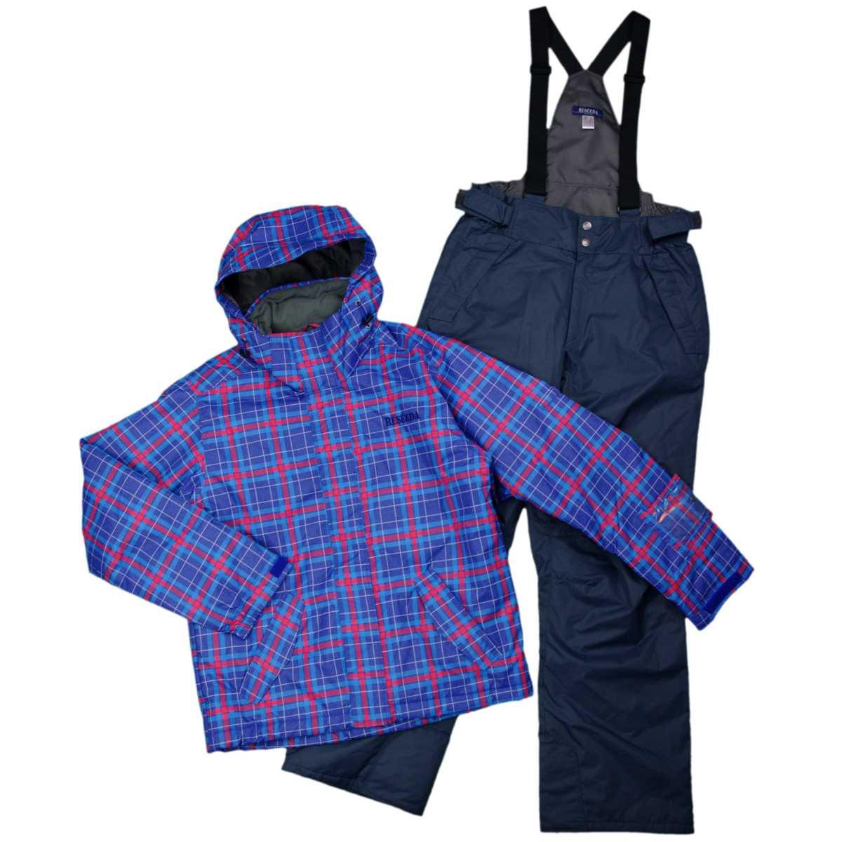 メンズ オンヨネ スキーウェア上下セット 耐水圧:3,000mm チェック柄 ウエア サンプル品 (ネイビー/チャコール Lサイズ) メンズ スキーウェア 全1色