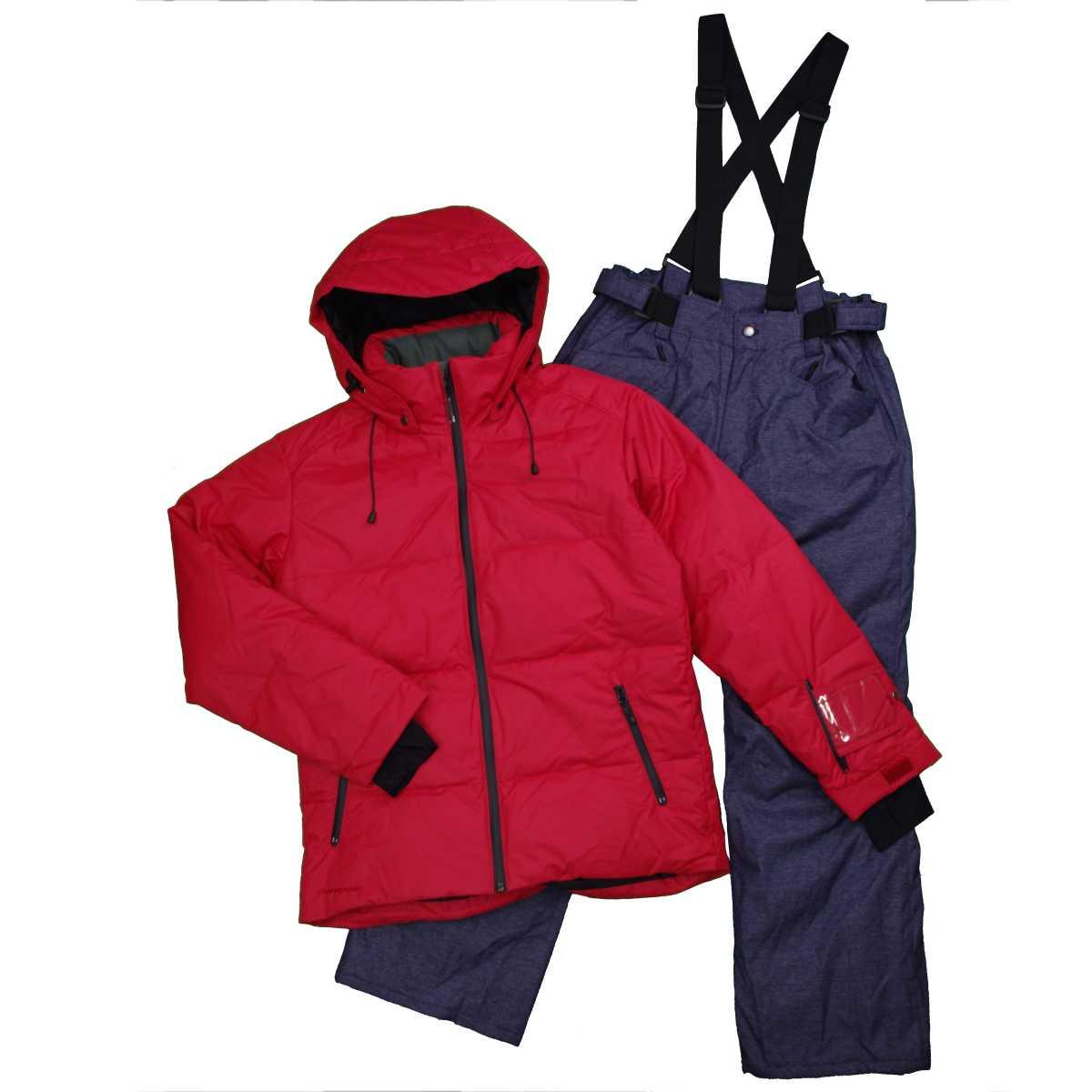 メンズ オンヨネ スキーウェア上下セット 耐水圧:10,000mm ダウンジャケット ウエア サンプル品 (レッド/デニム Lサイズ) メンズ スキーウェア 全5色