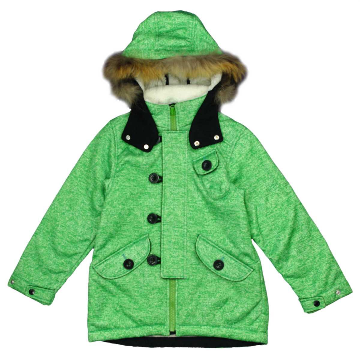 男女兼用 オンヨネ ボンディンフィールドジャケット型 裏ボア ラクーンファー付 防寒ジャケット サンプル品 (グリーン 130cm) ガールズ キッズ スキーウェア 全3色