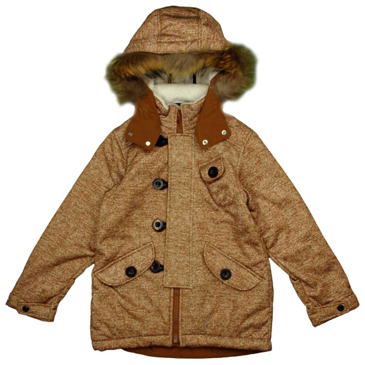 男女兼用 オンヨネ ボンディンフィールドジャケット型 裏ボア ラクーンファー付 防寒ジャケット サンプル品 (ブラウン 130cm) ボーイズ キッズ ジャンパー・コート 全3色