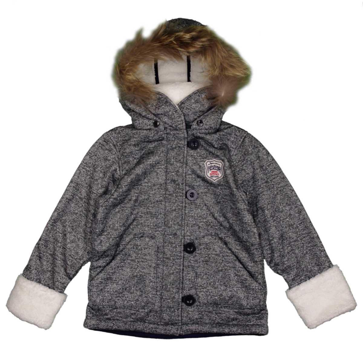 男女兼用 オンヨネ ボンディングランチジャケット型 裏ボア ラクーンファー付き 防寒ジャケット サンプル品 (ブラック 130cm) ボーイズ キッズ ジャンパー・コート 全3色