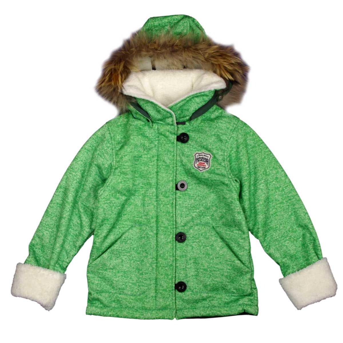 男女兼用 オンヨネ ボンディングランチジャケット型 裏ボア ラクーンファー付き 防寒ジャケット サンプル品 (グリーン 130cm) ボーイズ キッズ スキーウェア 全3色