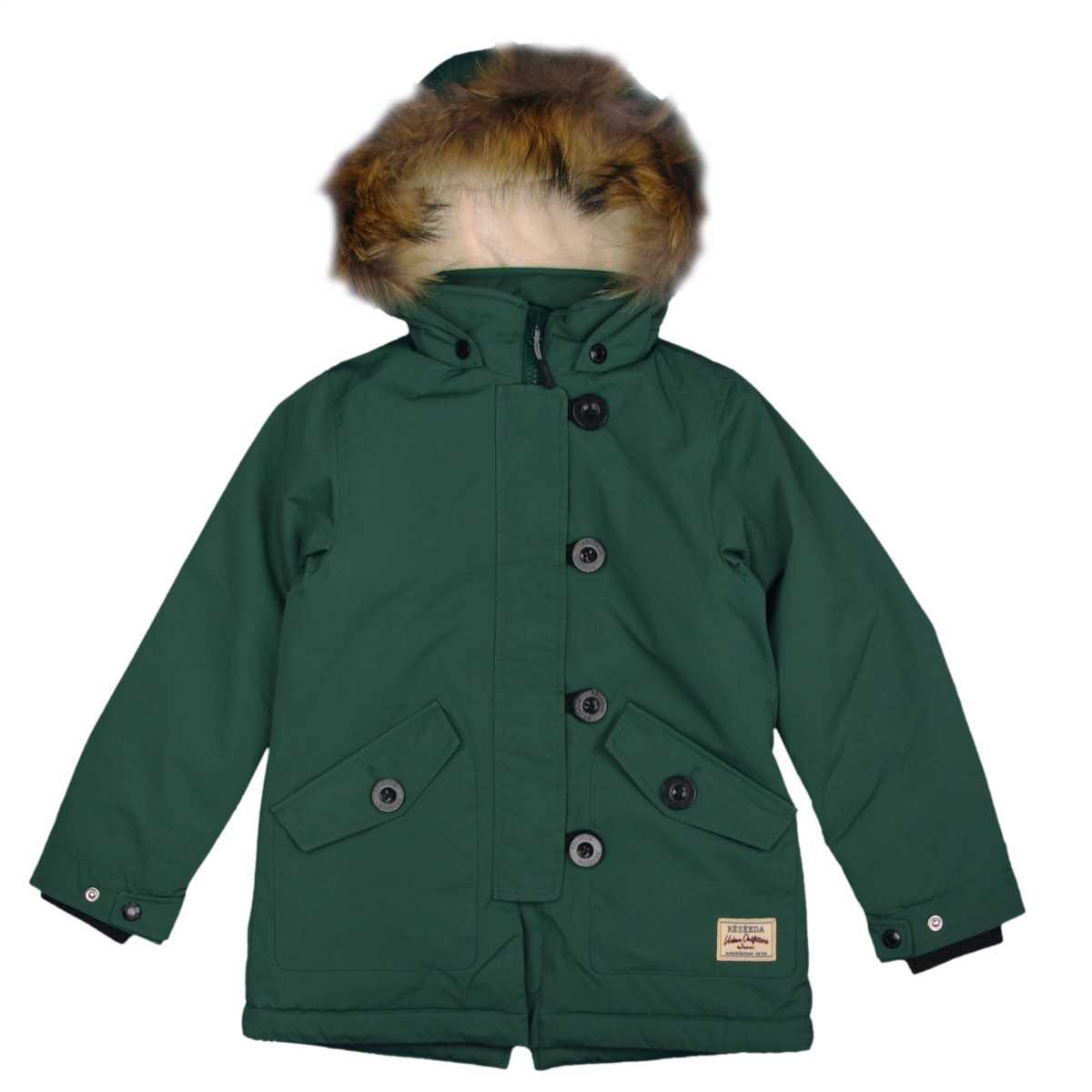 男女兼用 オンヨネジャケット モッズコート コート 裏ボア ラクーンファー付 防寒ジャケット サンプル品 (グリーン 130cm) ボーイズ キッズ ジャンパー・コート 全3色