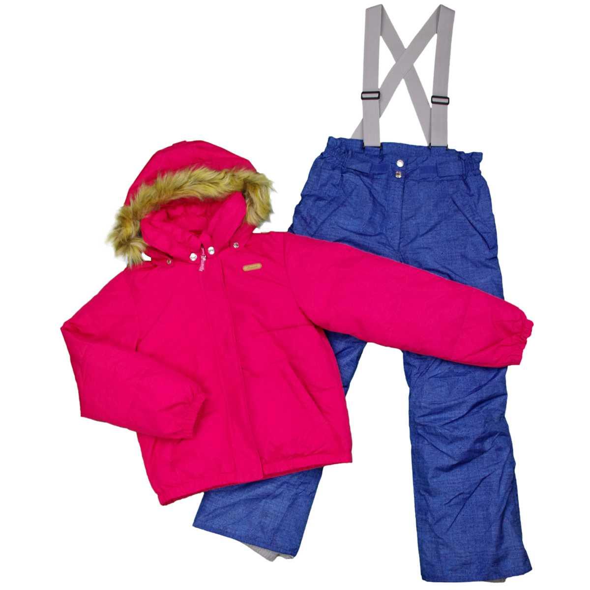 女の子オンヨネスキーウェア上下セット パンツサイズ調整機能付スキーウェア サンプル品 (ベリー/デニム 130cm 140cm 150cm 160cm) ガールズ ジュニア スキーウェア 全4色