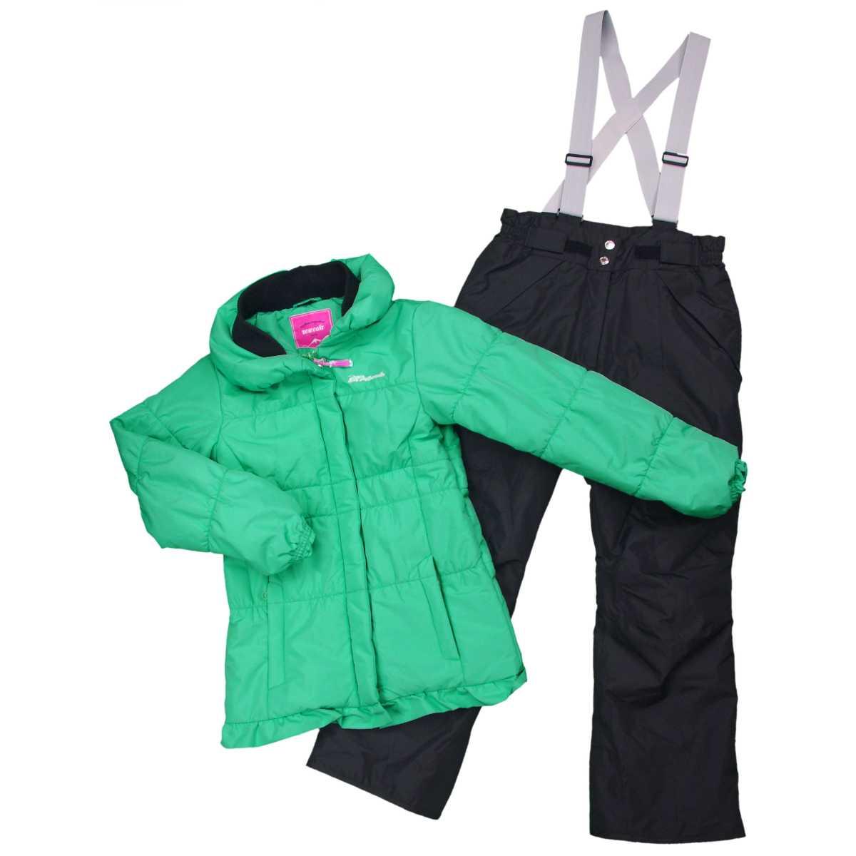 女の子オンヨネスキーウェア上下セット フード(収納可能)付き スキーウェア サンプル品 (ミント/ブラック 130cm 140cm 150cm 160cm) ガールズ ジュニア スキーウェア 全3色