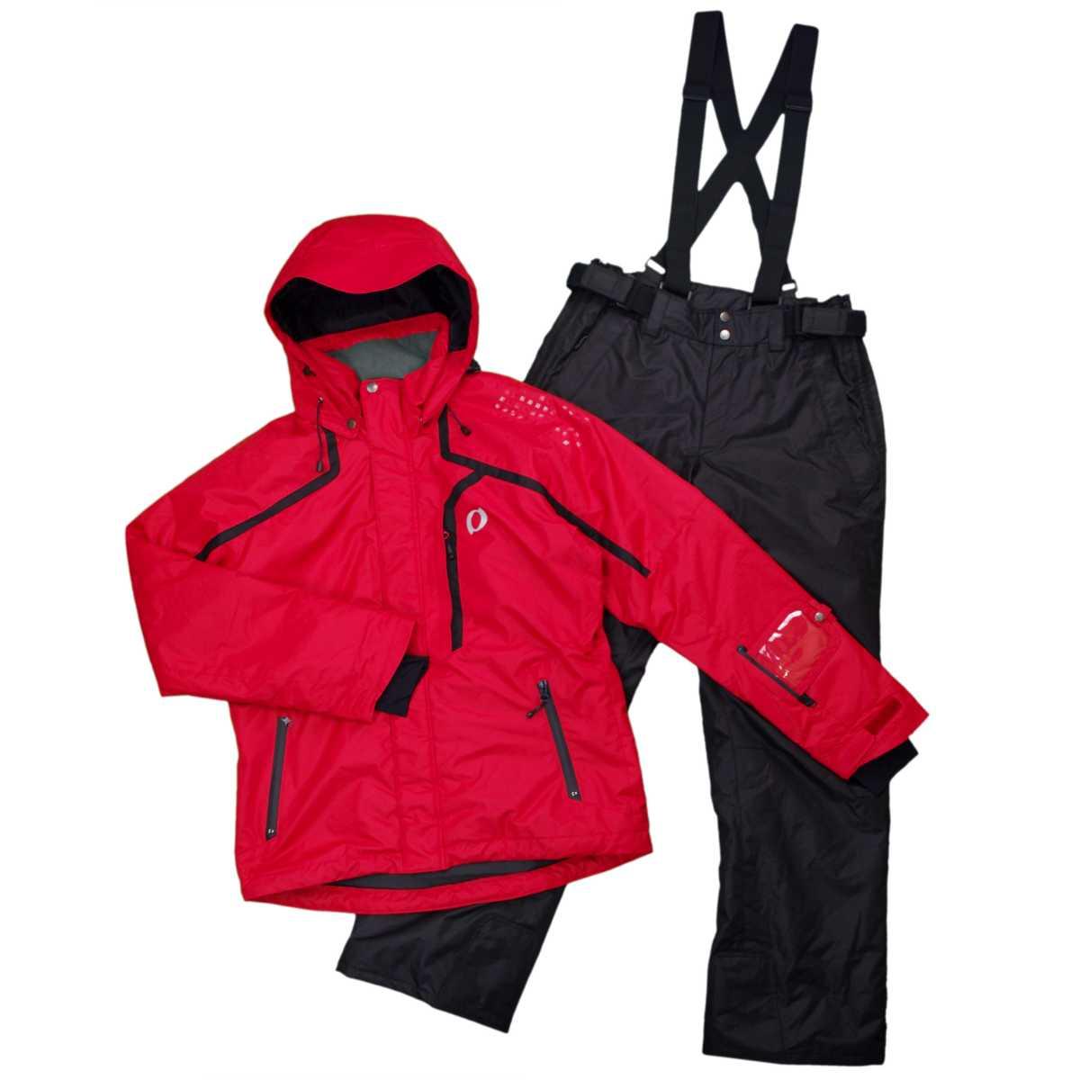メンズ オンヨネ スキーウェア上下セット 耐水圧:10,000mm ライン配色切替 ウエア サンプル品 (レッド/ブラック Lサイズ) メンズ スキーウェア 全5色