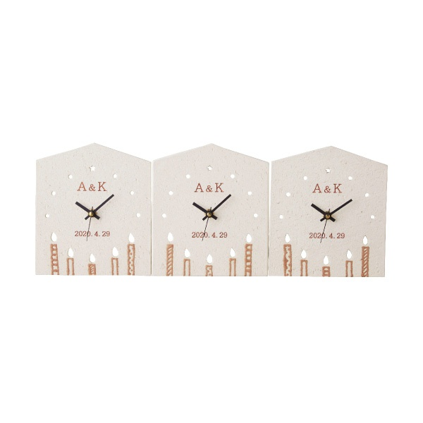【送料無料】【25%OFF!】3つのKizuna時計 CANDLE<名入れ>両親プレゼント プレゼント 結婚式 親ギフト お祝い 披露宴 ウェディング ご両親贈呈アイテム 時計 記念品