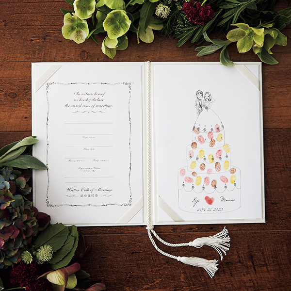 【結婚証明書】【送料無料】にがおえ指紋アート結婚証明書 Wedding Cake -ウェディングケーキ-(誓約書 結婚式 結婚証明書 人前式 ウェディング 披露宴 ウェルカムスペース ブライダル パーティー)