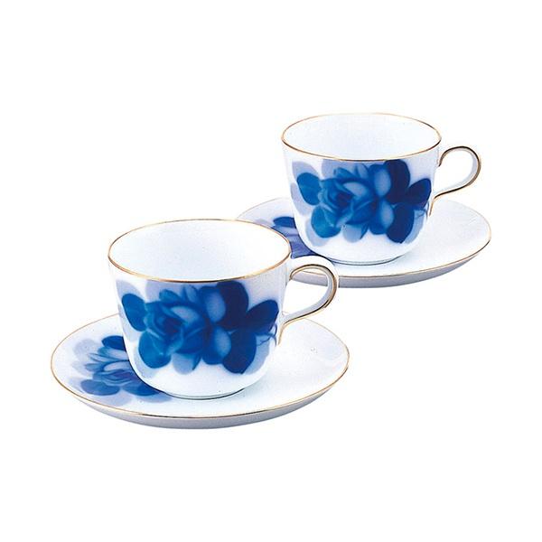 【送料無料】大倉陶園 ブルーローズ モーニング碗皿ペアセット(ギフト お祝い 内祝い 引き出物 引出物 ポイント消化 新生活テーブルウェア おうちテーブルウェア)