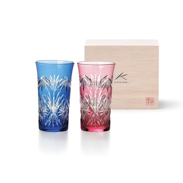 【送料無料】KAGAMI 江戸切子 ペアひとくちビールグラス(新生活テーブルウェア おうちグラス_タンブラー)