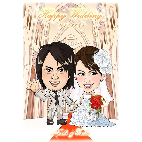 【送料無料】CG似顔絵ウェルカムボード2nd チャペルプレゼント 結婚式 ギフト お祝い 披露宴 ウェディング ウエルカムスペース シンプル バージンロード