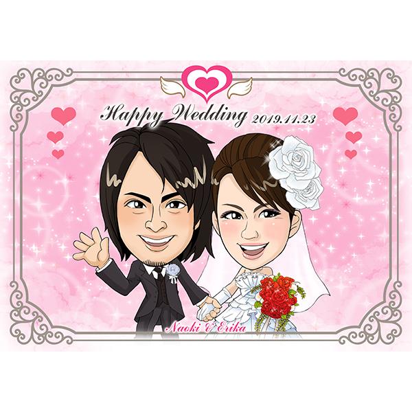 【送料無料】CG似顔絵ウェルカムボード2nd Loving Heartプレゼント 結婚式 ギフト お祝い 披露宴 ウェディング ウエルカムスペース シンプル ハート
