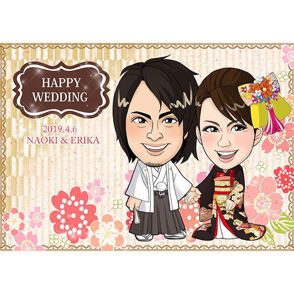 【送料無料】CG似顔絵ウェルカムボード2nd 和桜(ゴールド)プレゼント 結婚式 ギフト お祝い 披露宴 ウェディング ウエルカムスペース 和風 ゴージャス