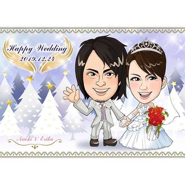 【送料無料】CG似顔絵ウェルカムボード2nd ホワイトツリープレゼント 結婚式 ギフト お祝い 披露宴 ウェディング ウエルカムスペース ウィンターウェディング
