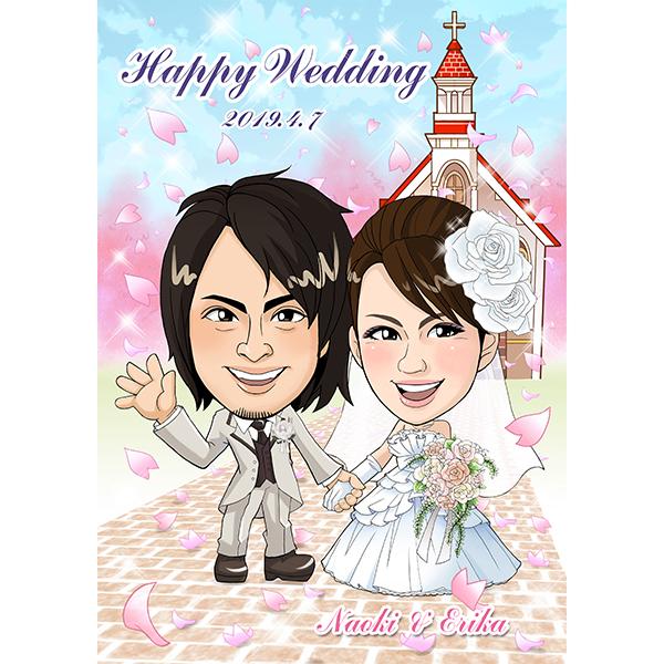 【送料無料】CG似顔絵ウェルカムボード2nd 桜吹雪プレゼント 結婚式 ギフト お祝い 披露宴 ウェディング ウエルカムスペース 華やか チャペル 上品 和風 洋風
