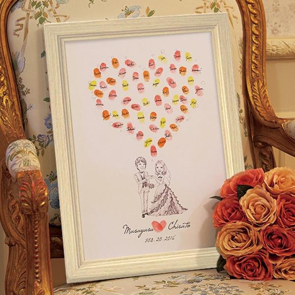 【送料無料】【20%OFF!】にがおえ指紋アート Love Heart -ラブハート-ウェディングツリー プレゼント 結婚式 ギフト お祝い 披露宴 ウェディング ウエルカムボード