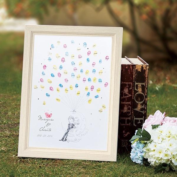 【送料無料】【20%OFF!】にがおえ指紋アート Moon -ムーン-ウェディングツリー プレゼント 結婚式 ギフト お祝い 披露宴 ウェディング ウエルカムボード