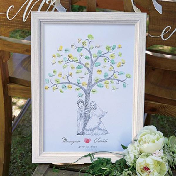 【送料無料】【20%OFF!】にがおえ指紋アート Hug Wedding Tree -ハグ・ウェディングツリー-ウェディングツリー プレゼント 結婚式 ギフト お祝い 披露宴 ウェディング ウエルカムボード
