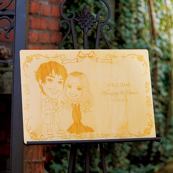 【送料無料】【30%OFF!】木の似顔絵 ルクールリボンプレゼント 結婚式 ギフト お祝い 披露宴 ウェディング ウエルカムボード