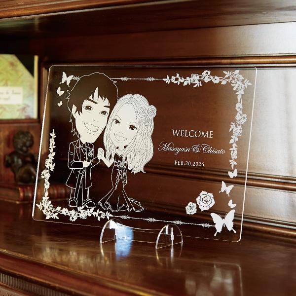 【送料無料】クリアな似顔絵ボード ローズガーデン(ヨコ)プレゼント 結婚式 ギフト お祝い 披露宴 ウェディング ウエルカムスペース