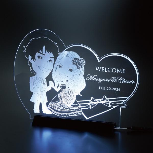 【送料無料】【30%OFF!】クリアな似顔絵ボード(LEDライト付) スイートハートプレゼント 結婚式 ギフト お祝い 披露宴 ウェディング ウエルカムボード