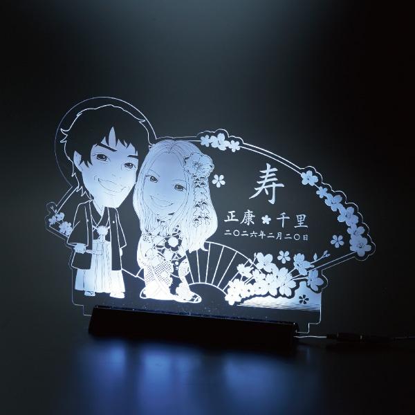【送料無料】【30%OFF!】クリアな似顔絵ボード(LEDライト付) 扇プレゼント 結婚式 ギフト お祝い 披露宴 ウェディング ウエルカムボード
