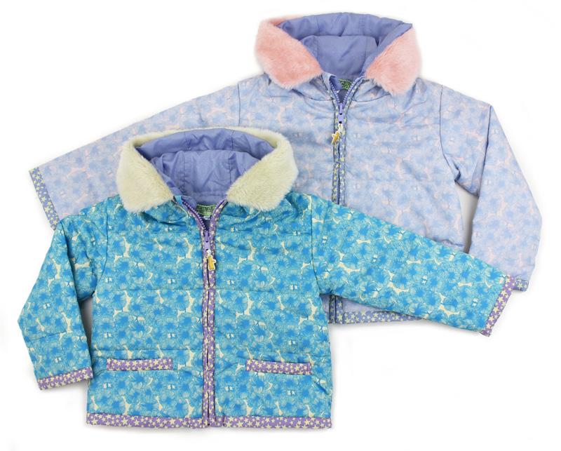 【fafa/フェフェ アウター】FLORINE (OUTER)(100・120)中綿入りで軽くて暖かなアウター/パンジー柄タフタ素材/フードにフェイクファー