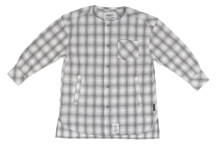 【セール グルービーカラーズ GROOVY COLORS 】チェック ノーカラー シャツ ジャケット (150)