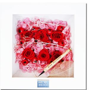 赤ちゃん筆(胎毛筆)【fairy flower お花のフレーム(pink)】一度もハサミを入れていない毛先の残った〔胎毛〕で作られた筆です【楽ギフ_名入れ】【楽ギフ_メッセ入力】【楽ギフ_のし】
