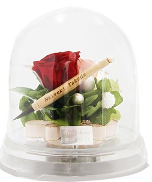 赤ちゃん筆(胎毛筆)【fairy flower お花のカプセル(red)】一度もハサミを入れていない毛先の残った〔胎毛〕で作られた筆です【楽ギフ_名入れ】【楽ギフ_メッセ入力】【楽ギフ_のし】