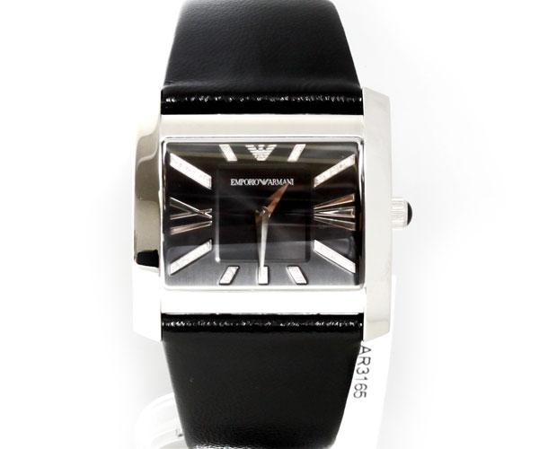 【送料無料】EMPORIO ARMANI エンポリオアルマーニ メンズ スクエアデザイン ブラックベルト×ブラック文字盤 AR3165