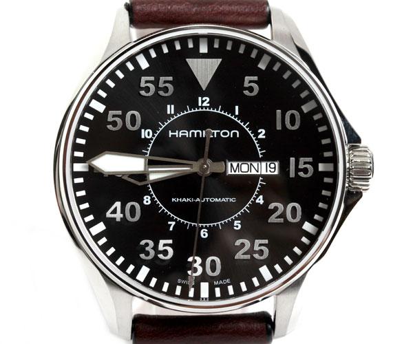 【送料無料】HAMILTON ハミルトン 腕時計 メンズ カーキ パイロット オートマチック レザー ダークブラウン/ブラック H64715535