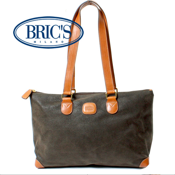【送料無料】BRIC'S ブリックス メンズ LIFE ライフ マイクロスエード ハンドバッグ トートバッグ BLF02961.278 オリーブ グリーン イタリア