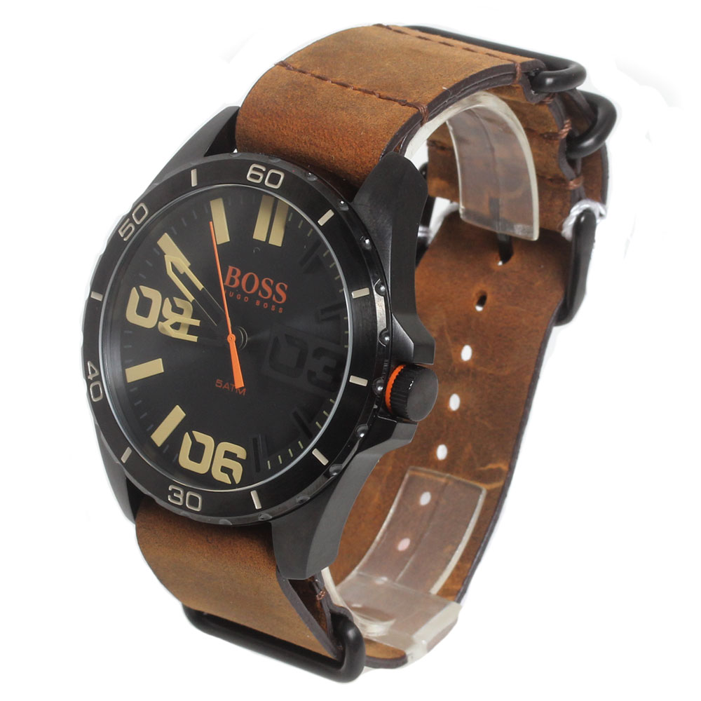 BOSS HUGO BOSS ボス ヒューゴボス 腕時計 1513316 Orange Cape Town メンズ ラウンド ブラック ブラウンレザーベルト