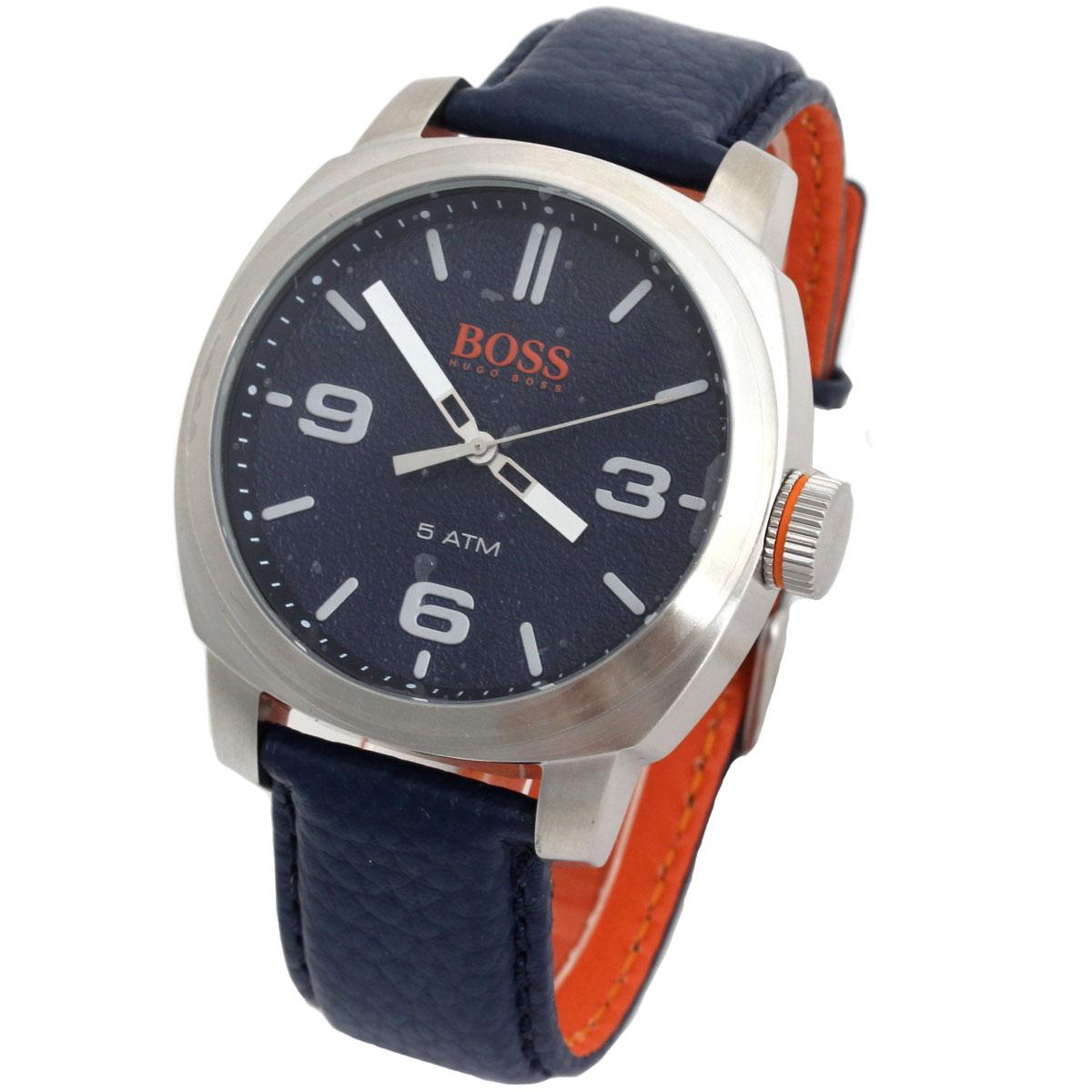 BOSS HUGO BOSS ボス ヒューゴボス 腕時計 1513410 Orange Cape Town メンズ ラウンド ネイビー シルバー レザーベルト