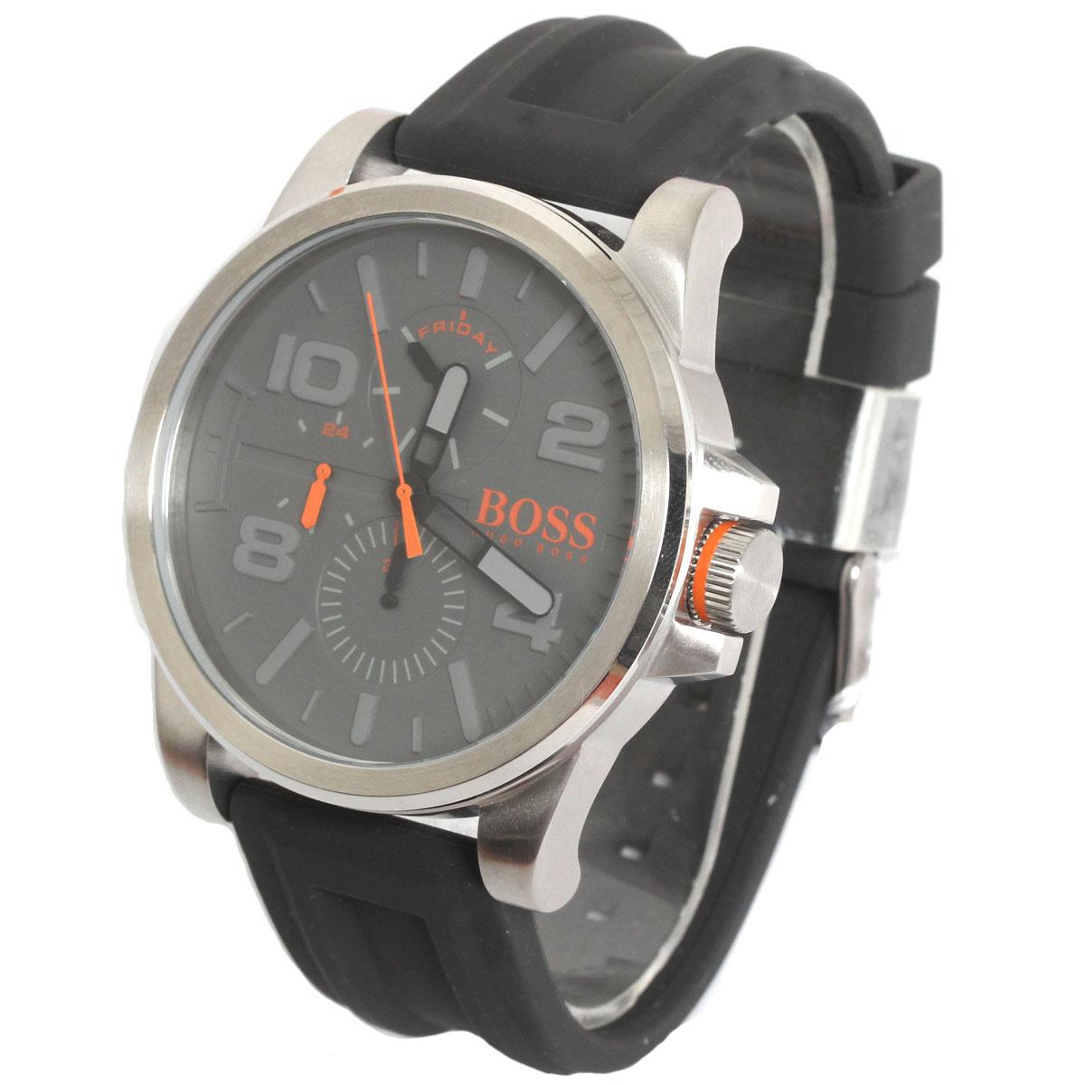 BOSS HUGO BOSS ボス ヒューゴボス 腕時計 1550007 Orange Cape Town メンズ ラウンド グレイ シルバー ラバーベルト