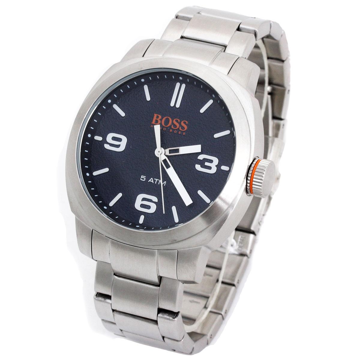 BOSS HUGO BOSS ボス ヒューゴボス 腕時計 1513419 Orange Cape Town メンズ ラウンド ブラック シルバー