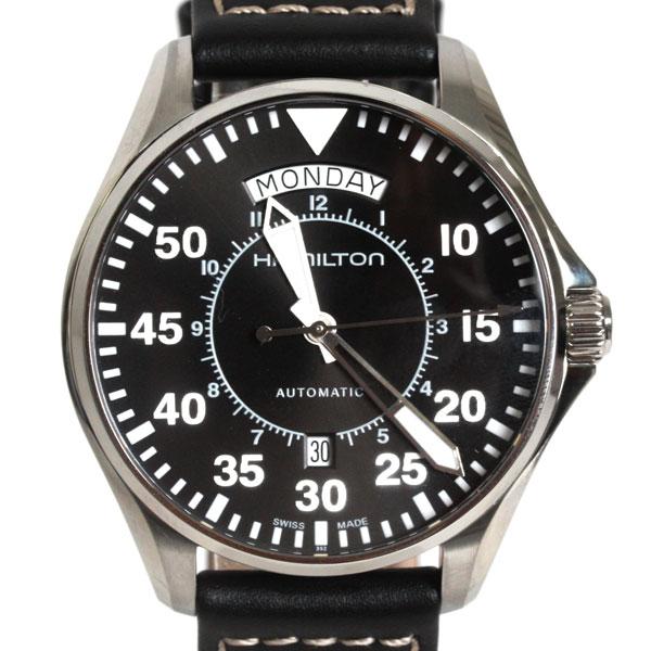 【送料無料】HAMILTON ハミルトン 腕時計 メンズ カーキ パイロット オートマチック レザー ダークブラウン/ブラック H64615735