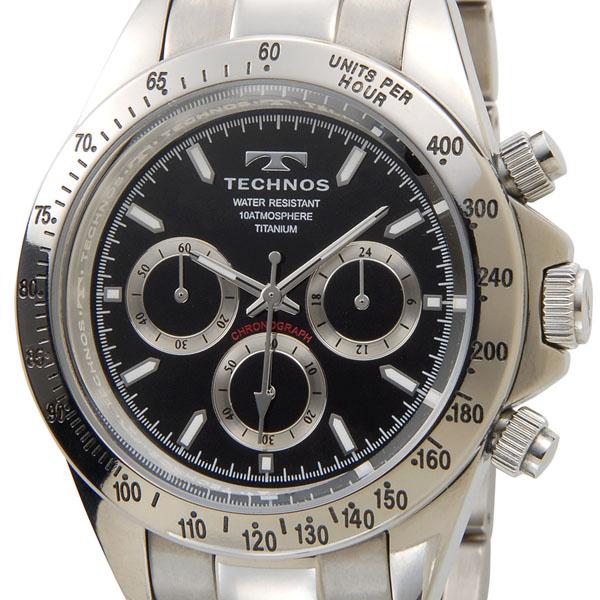 TECHNOS テクノス 腕時計 T4322IB オリジナルモデル フルチタン製 クロノグラフ 軽量92g ブラック メンズ
