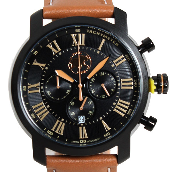 HUNTING WORLD ハンティングワールド 腕時計 クォーツ メンズ腕時計 ランドスケープ ウォッチ ブラック/ブラウン HW930BK