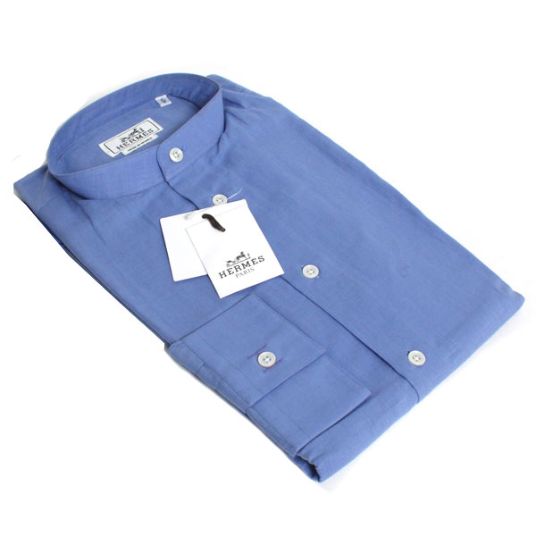 【送料無料】HERMES エルメス メンズカッターシャツ スタンドカラー 39