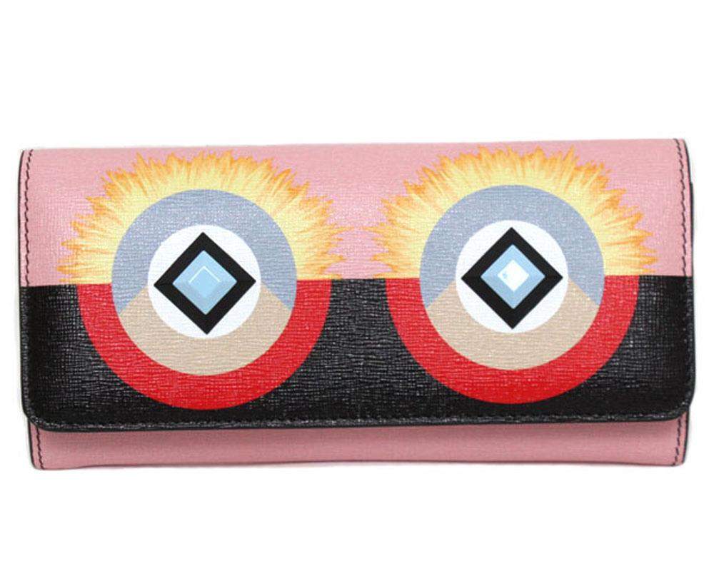 【新品】【送料無料】FENDI フェンディ 二つ折り長財布 コンチネンタルウォレット クレヨンズ ウォレット 8M0251SQTF02L0 ピンク マルチカラーレザー モンスター