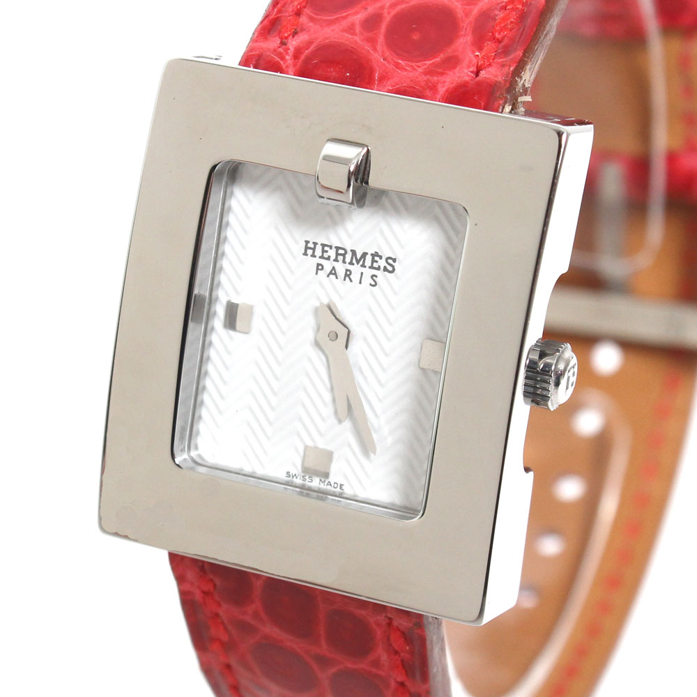 【送料無料】【新品】HERMES エルメス BELT WATCH BE1110160 ベルトウォッチ 腕時計 レディース スクエア シルバー レッド