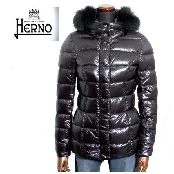HERNO ヘルノ レディース ショート丈 ファー付き ダウンコート PI0038 12017 9300 ブラック