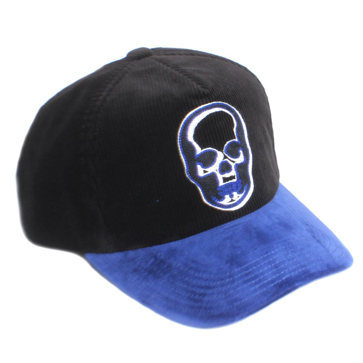 lucien pellat-finet ルシアンペラフィネ メンズ キャップ 帽子 CAP75 コーデュロイ BLACK/BLUE ブラック ブルー スカル ドクロ
