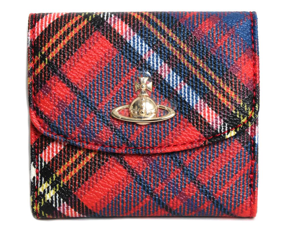 【送料無料】Vivienne Westwood ヴィヴィアンウエストウッド ダブルホック二つ折り財布 DERBY/ダービー 51150003 10256 O202 MC ANDREAS レッド チェック