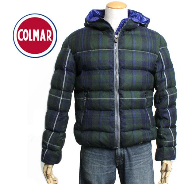 【送料無料】COLMAR コルマー メンズ ダウンジャケット 1279 89 グリーン×ネイビー チェック柄